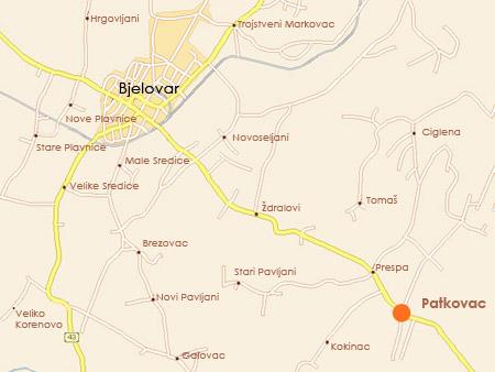 Karta Bjelovara i okolice
